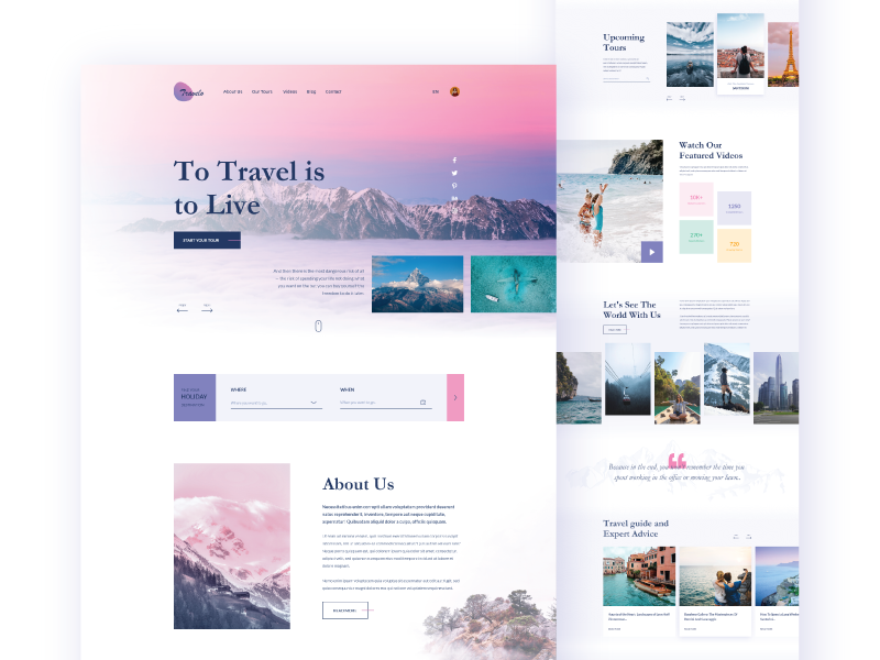 Travelo - Landing Page tour guide white flat colors adobe xd clean mountain travel agency tourism typography uiux web creative uidesign trend 2019 minimal landing page travel