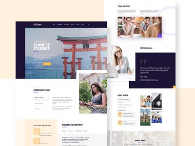 Chinese studies minimal website course page clean ui trend 2019 university education website studies design typography uiux web landing page creative