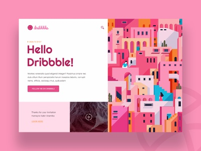 Hello Dribbble! uidesign firstshot hellodribbble minimal ui illustration trend 2019 web typography debutshot landing page