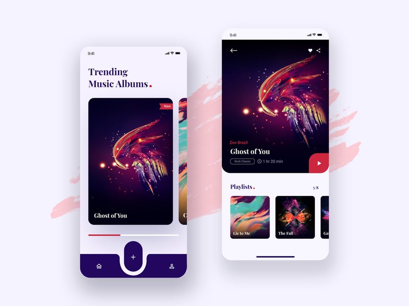 Music App UI minimal clean android 2020 music app iphone x ios button branding application animation creative ui uiux design typography app ui app