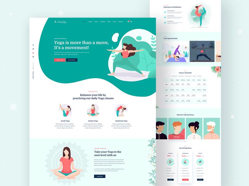 MediYoga_Yoga Template webdesign workout meditation yoga studio website icon logo vector illustration ux ui typography landing page uidesign web creative minimal