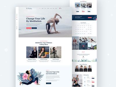 MediYoga - Yoga & Meditation Landing Page design flat branding vector web design fitness yoga studio meditation workout logo icon ux illustration ui typography landing page web creative minimal trend 2020