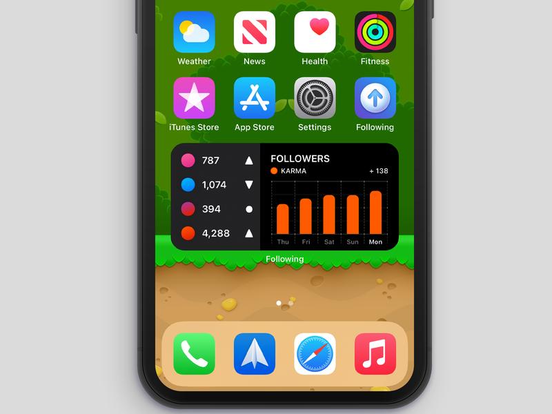 Following - Widget (iOS 14) karma reddit iphone icon ui misecia app beta ios app ios following widget social media beta ios 14