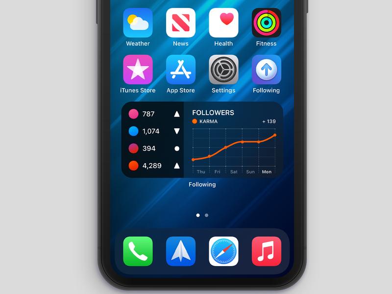 Following - Widget (iOS 14) v2 karma reddit beta ios app design iphone x widget ios 14 ux misecia ios ui app iphone