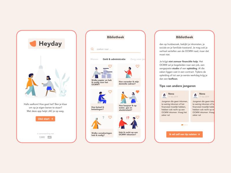 Heyday App dailyui youngpeople heyday illustrator appdesign ux ui design