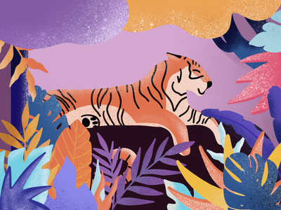 TIGER IN COLORFUL JUNGLE tiger illustration colorful art bright colors tiger ideal design illustration