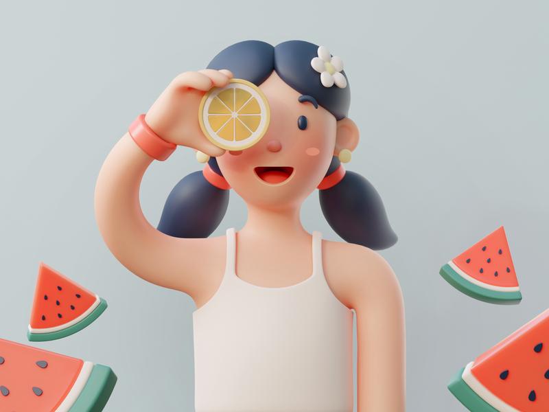 3D summer character clay art character design cgi cartoon character 3d art illustration blender3d 3d