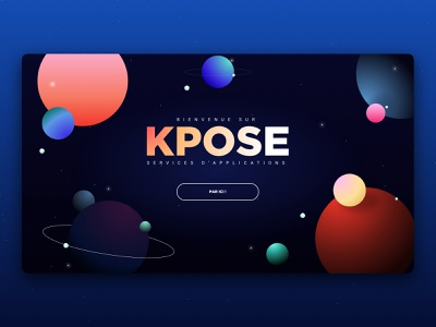 KPOSE Webdesign Accueil colorful planets cosmic landing design uidesign uxdesign