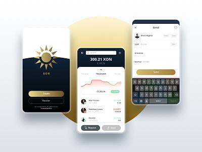 XON - Fintech - Cryptowallet - Mobile cryptocurrency crypto wallet fintech branding app design mobile design uidesign uxdesign