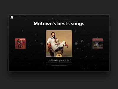 Motown's best songs - Webdesign exploration soul music motown landing page web web design ux design ui design