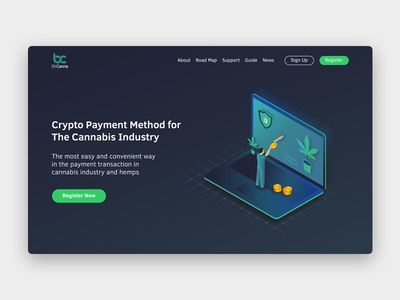 BitCanna Landing Page illustration vector bitcoin cryptocurrency webdesign ux ui graphic design userinterface landing page