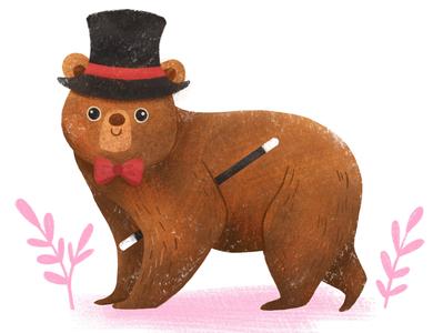 Little magician animal art kid art magician bear art digital cute nature photoshop illustration