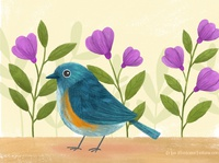 Back to some bird art! florals floral bird art animal art cute photoshop illustration