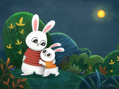 Happy mid-autumn festival childrens illustration character design digital animal art animal photoshop illustration