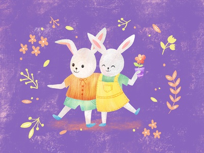 Celebrating friendship kids children nursery whimsical nature animal illustration digital cute ipad illustration procreate friendship rabbit bunny