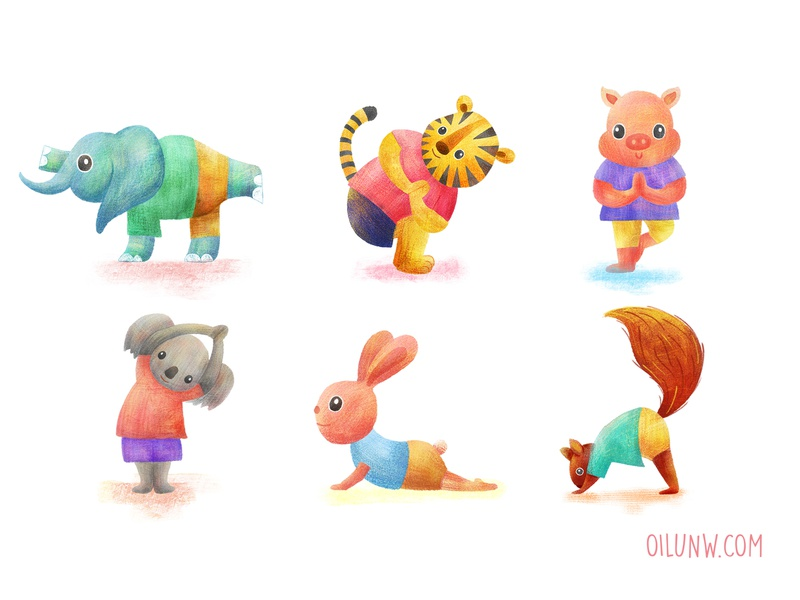 Yoga club adorable nursery squirrel pig elephant koala tiger bunny procreate ipad cute illustration animal yoga