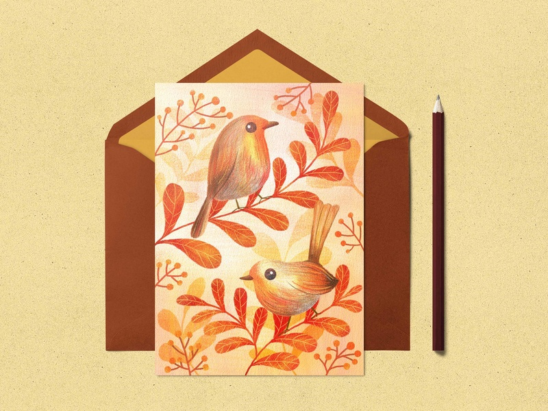 Greeting card mock up robin cute illustrator ipad artist procreate art licensing bird mock up greeting card