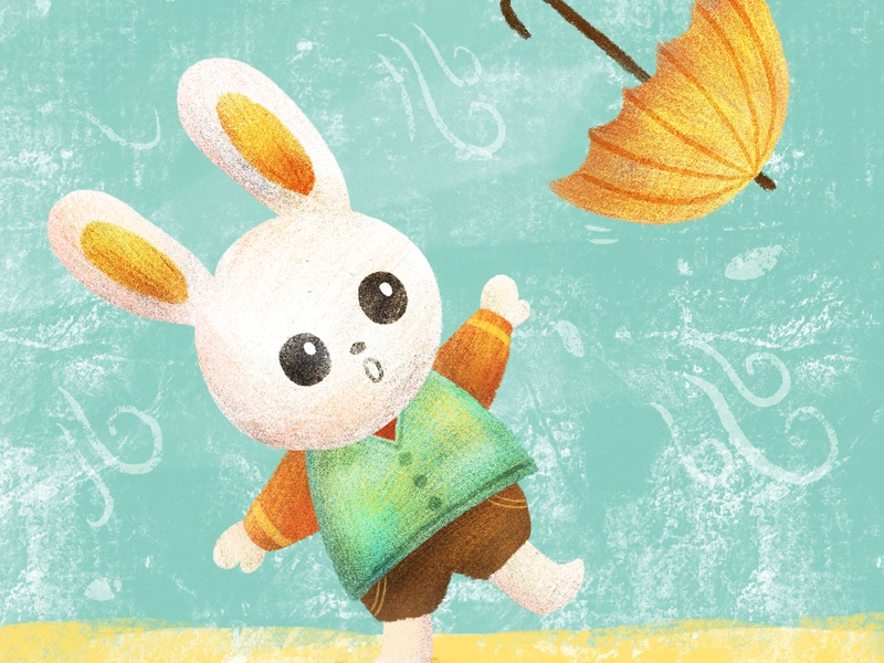 Bunny art for kids childrens book animalart procreate ipad artist cute illustration umbrella bunny
