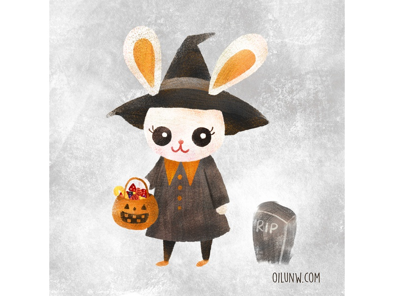 Trick or treat? treat candy trick halloween bunny cute procreate animal illustration