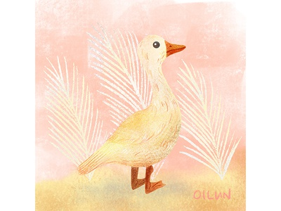 Pink + creamy yellow look good. I like it 😊 creamy pink duck illustration animal art procreate art animal illustration