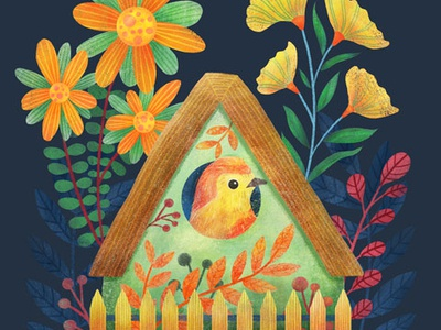 Home sweet home house flowers nature procreate digital art illustration bird art home