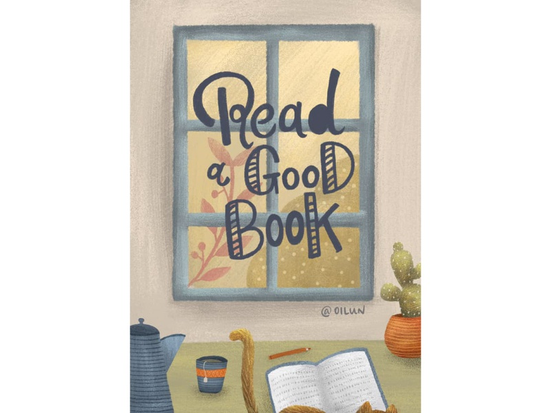 Read a good book procreate give room to yourself hand lettering illustration book