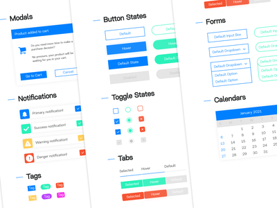 Web Development UI Kit! calendars forms tabs toggles tags notifications button webdev development web free kit ui branding design adobexd