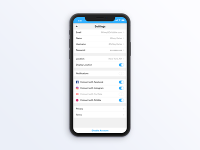 User Profile Settings ui settings adobexd 007 dailyui
