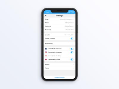User Profile Settings