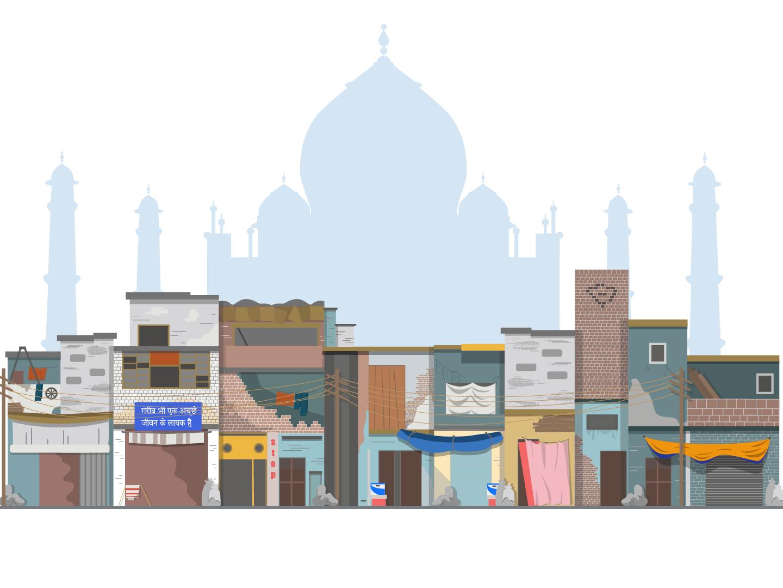 India illustration monument city building reality houses slum vector taj mahal india archigecture
