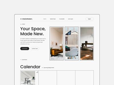 Interior Design Landing Page minimalist figma unsplash interior architecture dark mode app branding flat graphic design design typography clean ux design minimal ui ui design landing page interior design
