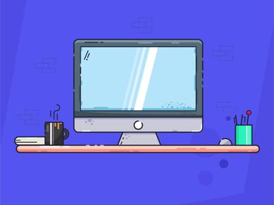 Desk Illustration Freebie