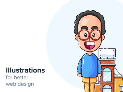 Illustrations for better web design glasses building character illustrations vector