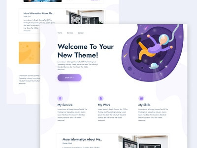 Landing Page Theme Design startup products saas astronauts space rocket landing page
