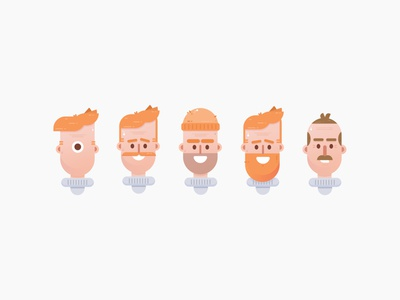 Character Faces Vol.1 icon set characterdesign beard face faces men portrait illustrations character design character
