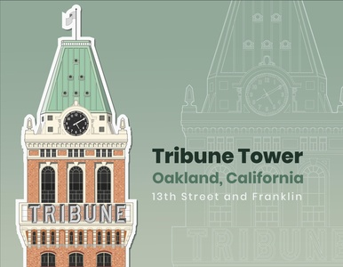 Oakland Tribune Building, Sticker Design