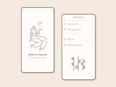 Edit profile app pages. mobile