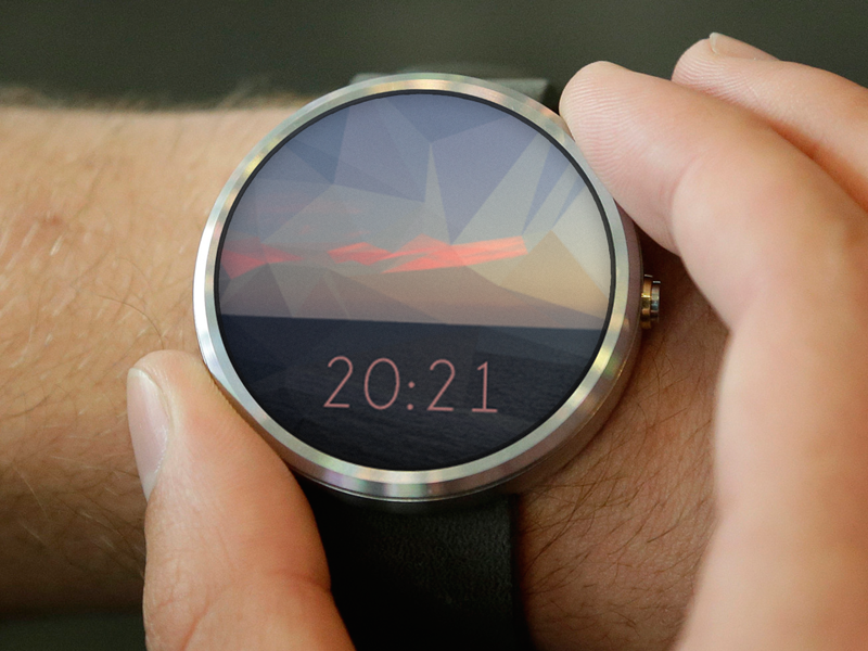 Moto360 Watch Face low-poly triangle seascape low poly clock time wear android face watch