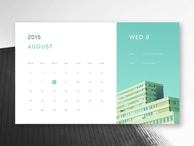 Minimal Calendar minimalism minimal card flat material turquoise teal calendar