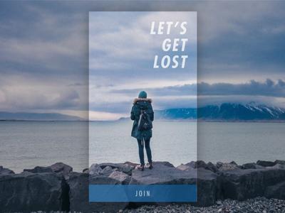 Let's Get Lost sign-up join splash mobile landing on-boarding