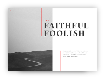 The Faithful Foolish grey typographic minimalist path minimal flat card