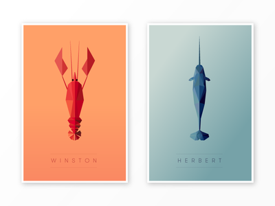 Winston And Herbert aquatic teal low poly geometric peach poly portrait poly narwhal lobster triangle
