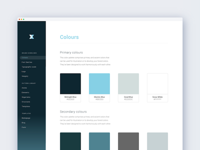 Style guide swatches assets design library website colours specifications style guide blue