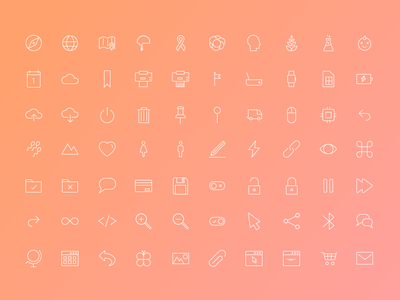 Line Icons simple iconography ui thin line light icons