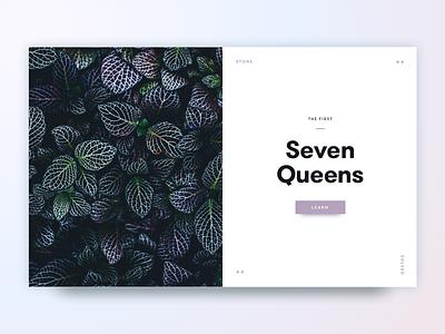 Seven Queens flora fauna indigo magenta mauve layout leaf simple magazine flower minimal card