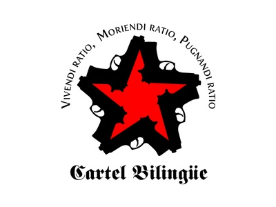 Cartel Bilingue gun star latin logo cartel black red