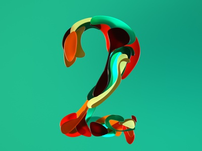 Half Japanese number two for 36 days of type 07 digitalart japanese style seventies two dos type numbers shapes color art direction 3dtype 3d artist 3d art 3d 36daysoftype07