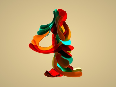 Half Japanese number four for 36 days of type 07 customtype typography four numbers shapes color artdirection japanese style digitalartist 36daysoftype07 3d artist 3dtype