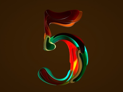 Half Japanese number five for 36 days of type 07 typogaphy 36daysoftype07 form seventiescolor color shapes erich gordon five number five digitalart seventiestyle 3dart customtype japanese style artdirection 3d 3dtype