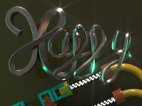 Happy 3D handmade Lettering for new year card